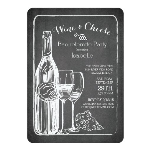 """Modern Wine & Cheese Bachelorette Party Invitation 5"""" X 7"""" Invitation Card (front side)"""
