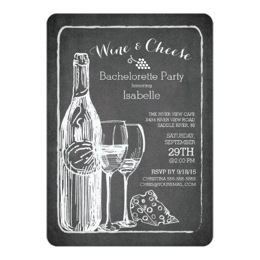 """Modern Wine & Cheese Bachelorette Party Invitation 5"""" X 7"""" Invitation C..."""