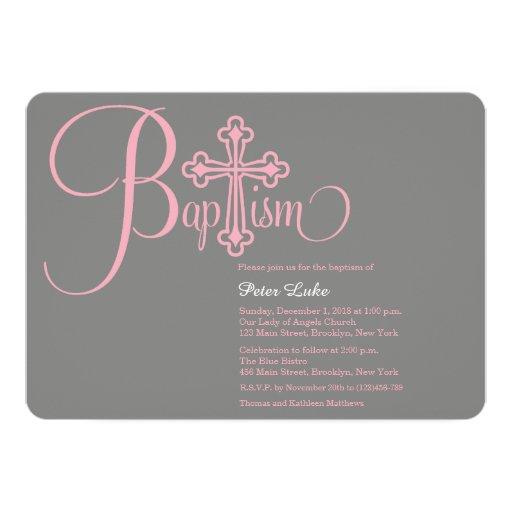 "Modern Cross Baptism Baby Girl Invitation 5"" X 7"" Invitation Card"