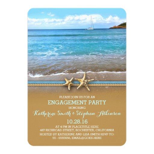 "Beach sea engagement party invitations 5"" x 7"" invitation card"