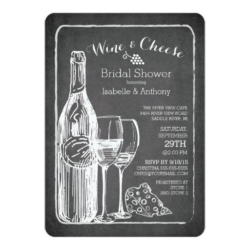 "Modern Wine & Cheese Bridal Shower Invitation 5"" X 7"" Invitation Card (front side)"