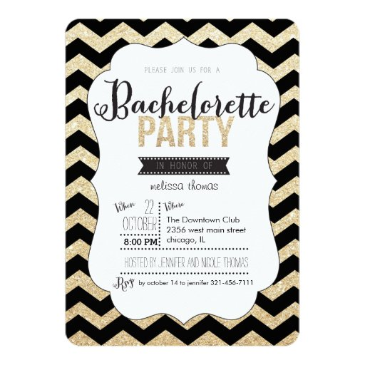 "Gold Glitter and Chevron Bachelorette Invitation 5"" X 7"" Invitation Card"