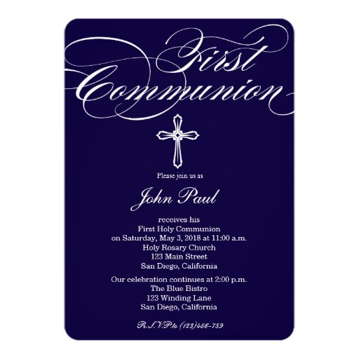 "Modern Elegant Cross Communion Invitation for Boys 5"" X 7"" Invitation Card"