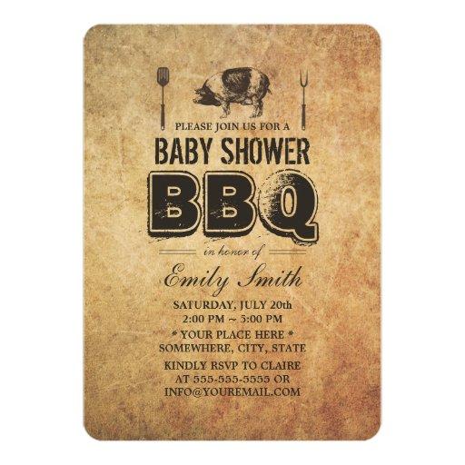 Vintage Grunge Pig Roast Baby Shower BBQ 5x7 Paper Invitation Card