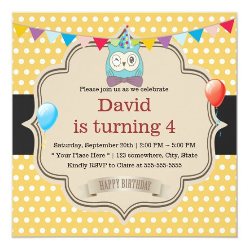 Cute Owl Gold Polka Dots Birthday Party 5.25x5.25 Square Paper Invitation Card