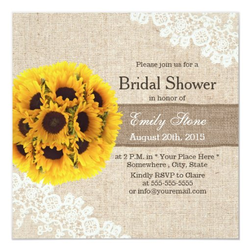 Rustic Sunflower Balls Burlap Ribbon Bridal Shower 5.25x5.25 Square Paper Invitation ...