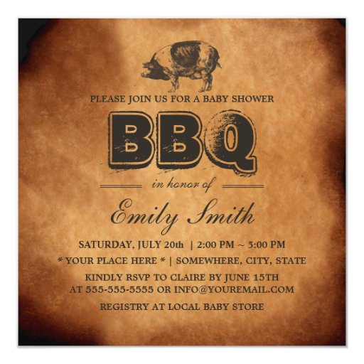 Vintage Pig Roast Baby Shower BBQ Party 5.25x5.25 Square Paper Invitation Card