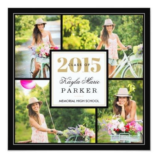 """2015 Classy Photo Collage Graduation Invitation 5.25"""" Square Invitation Card"""