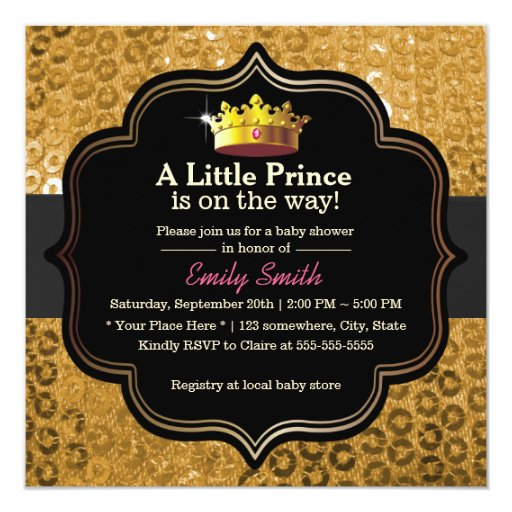 Luxury Gold Crown Little Prince Baby Shower 5.25x5.25 Square Paper Invitation Card
