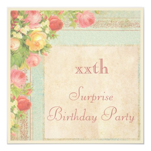 Elegant Vintage Roses Surprise Birthday Party 5.25x5.25 Square Paper Invitation Card