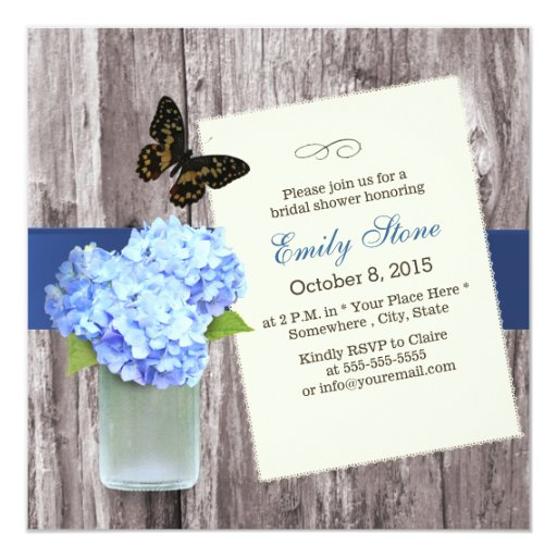 Elegant Blue Hydrangea & Mason Jar Bridal Shower 5.25x5.25 Square Paper Invitatio...
