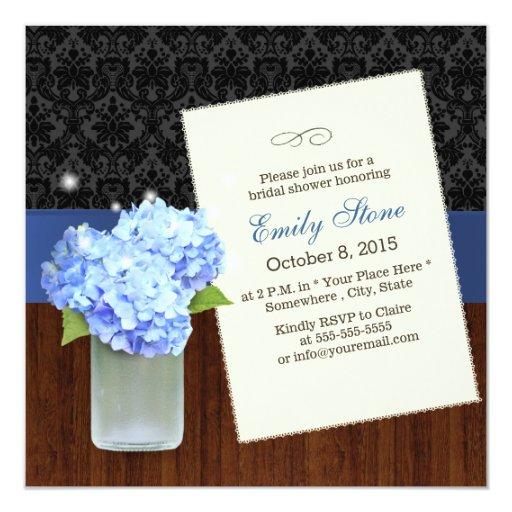 Classy Hydrangea Damask & Wood Bridal Shower 5.25x5.25 Square Paper Invitation Ca...