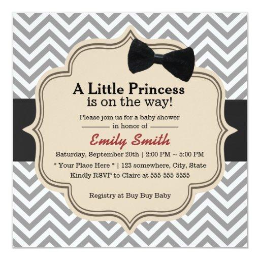 Classy Chevron Stripes Little Princess Baby Shower 5.25x5.25 Square Paper Invitation ...