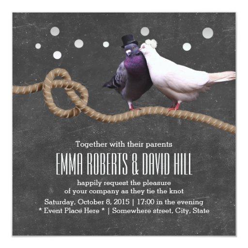 Love Birds & Twine Knot Chalkboard Wedding 5.25x5.25 Square Paper Invitation Card