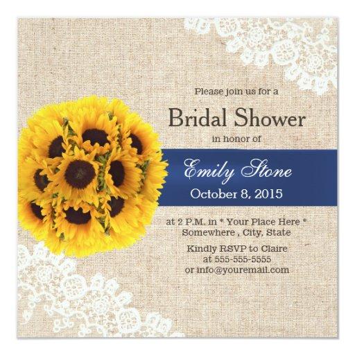 Country Sunflower Balls Lace Burlap Bridal Shower 5.25x5.25 Square Paper Invitation C...