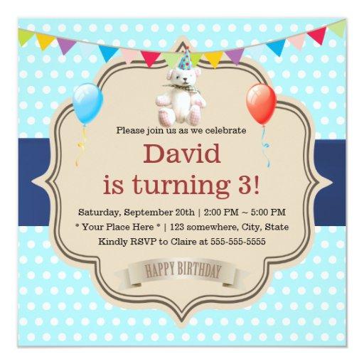 Sweet Spots Mint Blue Teddy Bear Birthday Party 5.25x5.25 Square Paper Invitation Car...