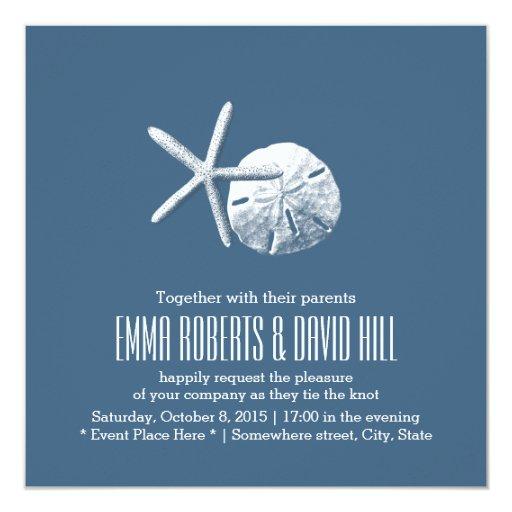 Navy Blue Starfish & Sand Dollar Beach Wedding 5.25x5.25 Square Paper Invitation ...