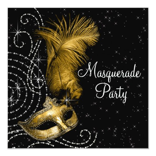 Elegant Black and Gold Masquerade Party 5.25x5.25 Square Paper Invitation Card