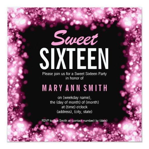 Elegant Sweet Sixteen Party Sparkling Lights Pink 5.25x5.25 Square Paper Invitation C...