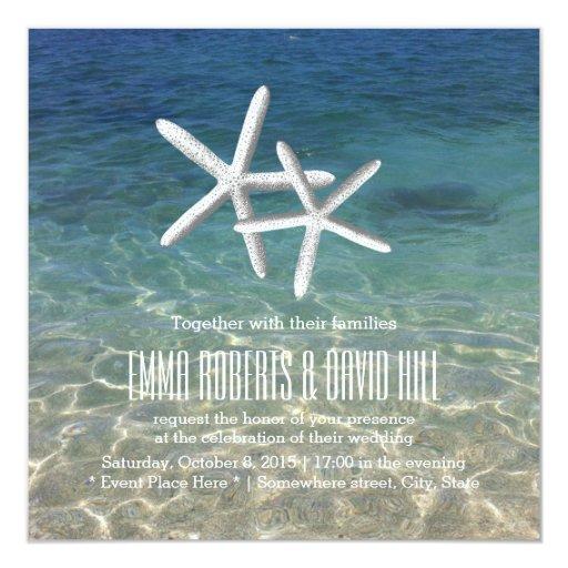 Pair of Starfish Tropical Beach Wedding 5.25x5.25 Square Paper Invitation Card