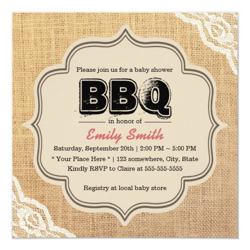 Rustic Lace & Burlap Baby Shower BBQ Party 5.25x5.25 Square Paper Invitation Card