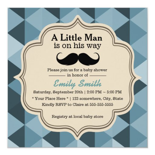 Modern Teal Triangles Mustache Baby Shower 5.25x5.25 Square Paper Invitation Card