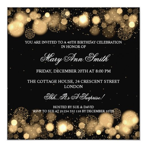 Elegant Winter 40th Birthday Party Gold 5.25x5.25 Square Paper Invitation Card