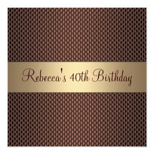 Elegant Chocolate 40th Birthday Party 5.25x5.25 Square Paper Invitation Card