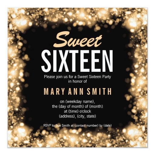 Elegant Sweet Sixteen Party Gold Sparkling Lights 5.25x5.25 Square Paper Invitation C...