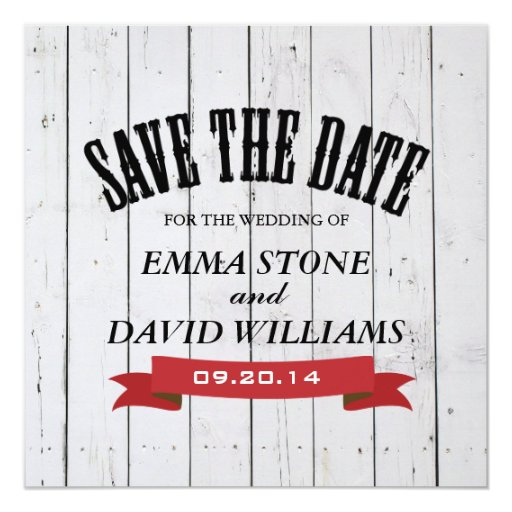 """Rustic White Wood Save the Date Announcement 5.25"""" Square Invitation Card"""