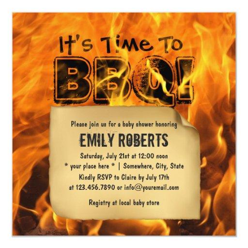 "Hot Burning Fire BBQ Baby Shower Invitations 5.25"" Square Invitation Card"
