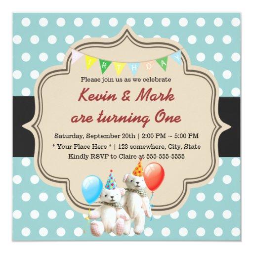 Sweet Polka Dots Bear Twins Birthday 5.25x5.25 Square Paper Invitation Card