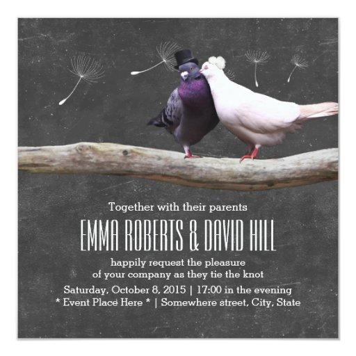 Classy Love Birds & Dandelion Chalkboard Wedding 5.25x5.25 Square Paper Invitatio...