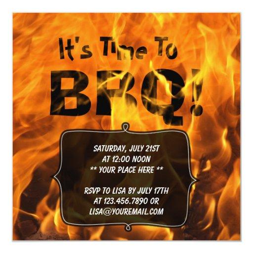 "Hot Burning Fire BBQ Summer Party Invitation 5.25"" Square Invitation Card"