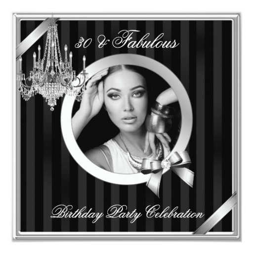 Fabulous 30 Elegant Chandelier Silver Black Photo 5.25x5.25 Square Paper Invitation C...