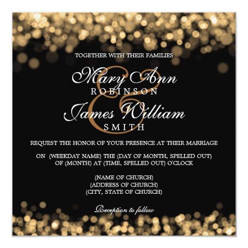 Elegant Wedding Gold Lights 5.25x5.25 Square Paper Invitation Card