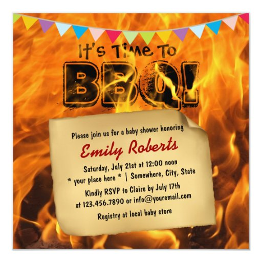 """Flaming Fire Baby Shower BBQ Party Invitations 5.25"""" Square Invitation Card"""