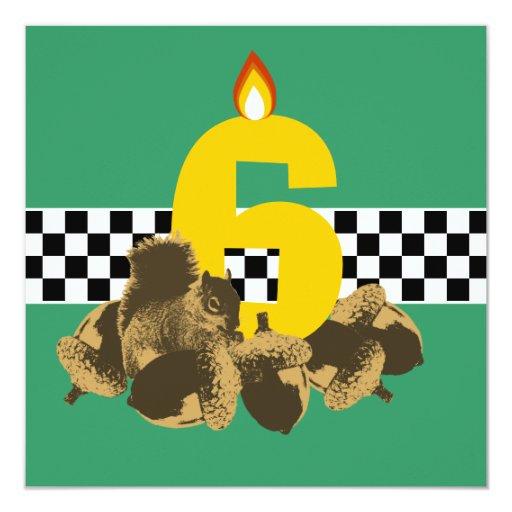 "Squirrel & Nuts Forest Birthday Party Invitation 5.25"" Square Invitation Car..."