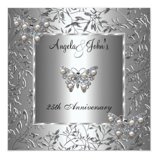 25th Anniversary Elegant Silver Floral Butterfly 5.25x5.25 Square Paper Invitation Ca...