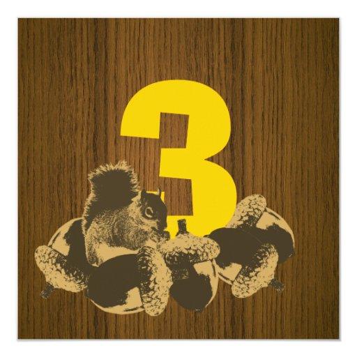 "Cute Squirrel 3rd Birthday Party Wooden Invitation 5.25"" Square Invitation Card"