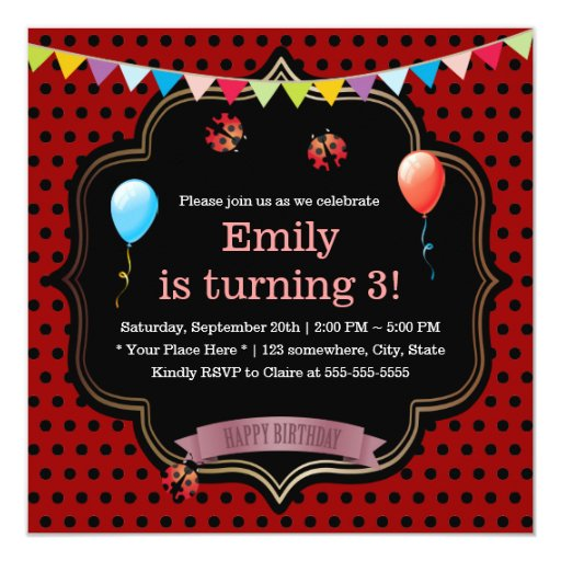 Cute Ladybugs Girls Birthday Party 5.25x5.25 Square Paper Invitation Card