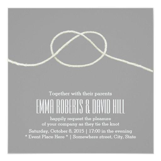 "Simple Silver Twine Knot Wedding Invitations 5.25"" Square Invitation Card"
