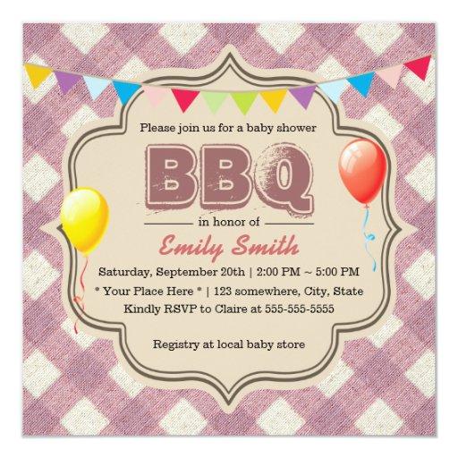 "Cute Plaid Baby Shower BBQ Party Invitations 5.25"" Square Invitation Card"