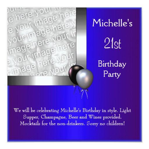 Elegant Photo Blue Silver Balloon 21st Birthday 5.25x5.25 Square Paper Invitation Car...