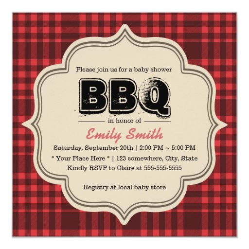Vintage Red Gingham Baby Shower BBQ Party 5.25x5.25 Square Paper Invitation Card