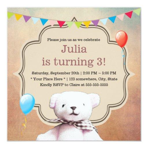 Cute Stippling Teddy Bear 3rd Birthday Party 5.25x5.25 Square Paper Invitation Card