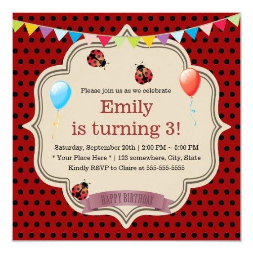 Cute Black Spots Ladybug Birthday Party 5.25x5.25 Square Paper Invitation Card