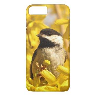 Chickadee Bird in Yellow Flower iPhone 7 Plus Case