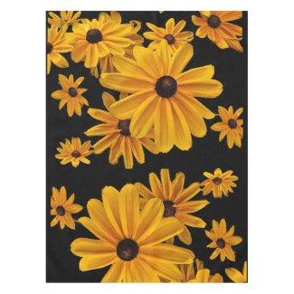 Yellow Floral Black Eyed Susan Flowers Tablecloth