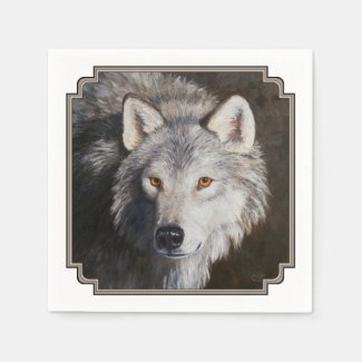 Gray Wolf Portrait Napkin